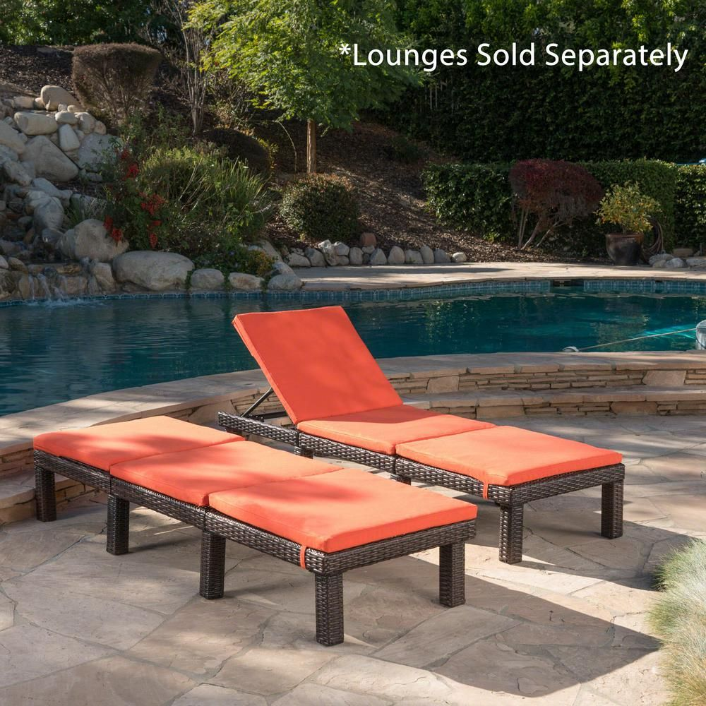 Noble House Caesar Orange Outdoor Chaise Lounge Cushion 2 Pack