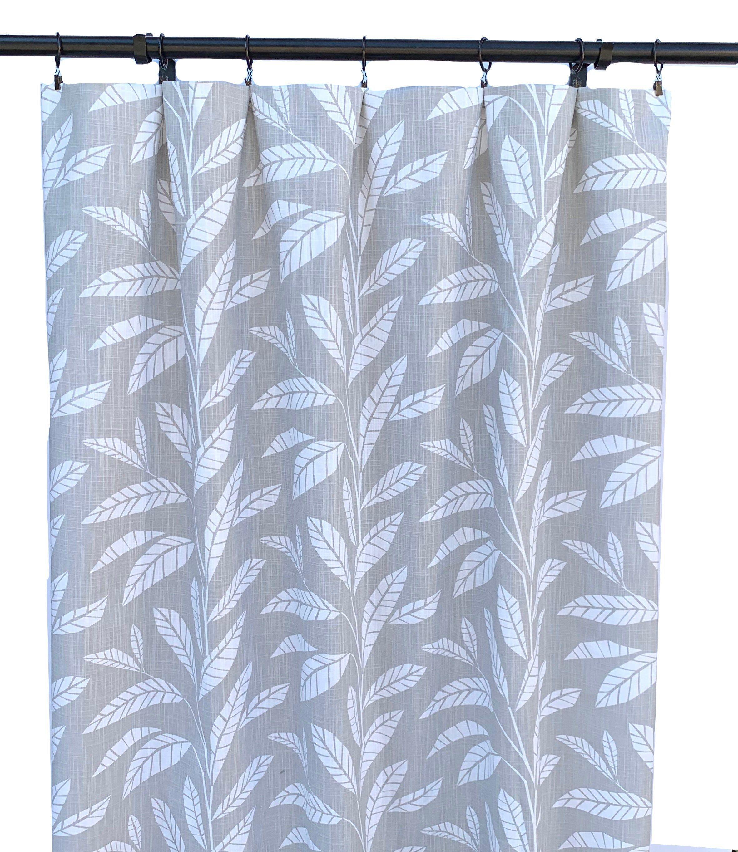 Grey Tropical Curtains Grey Palm Curtain 2 Curtain Panels Etsy