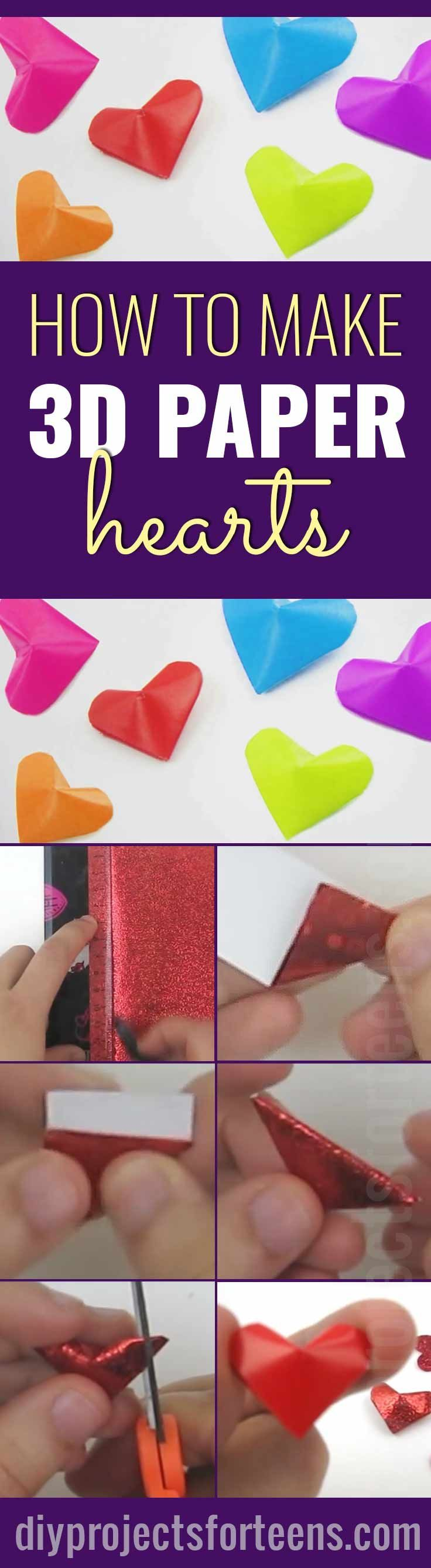 super cute and easy 3 d paper hearts easy paper crafts fun diy