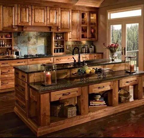 Cocina de madera rustica!!! | Cabaña | Cocinas rústicas ...