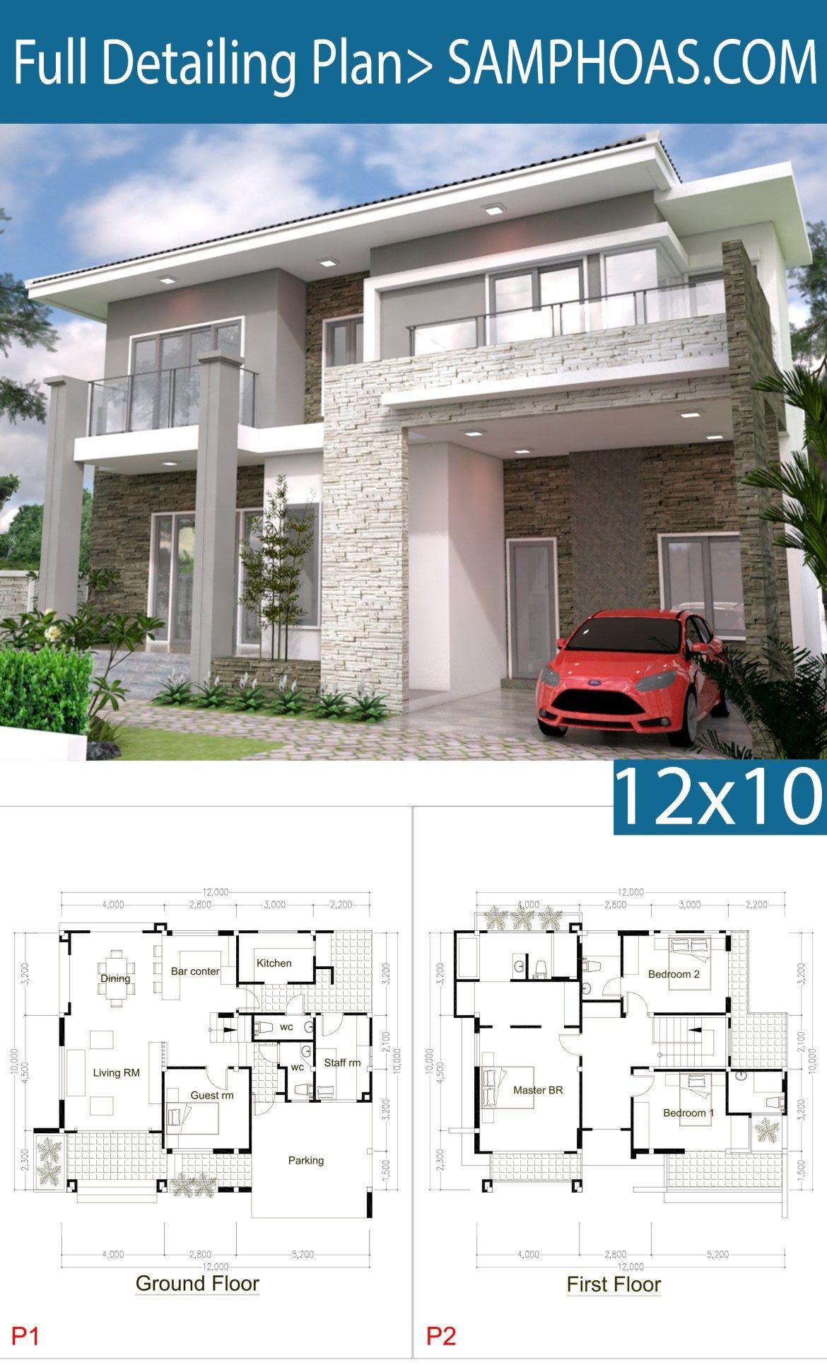 5 Bedrooms Modern Home 10x12m Arsitektur Desain Arsitektur