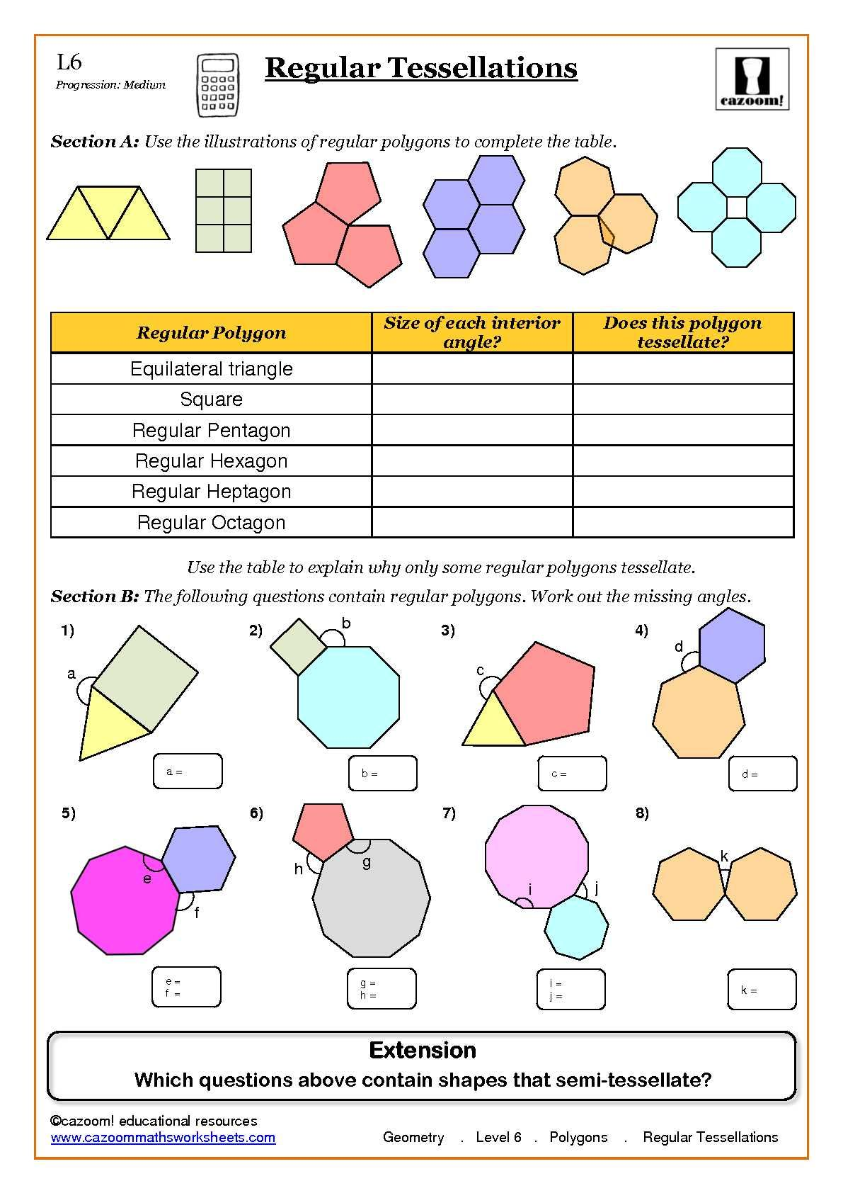 Geometry Maths Worksheet ks3 Regular Shapes – A Level Maths Worksheets