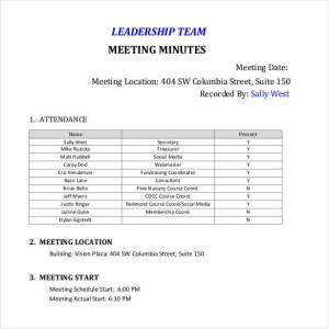 leadership team meeting minutes team meeting minutes templates