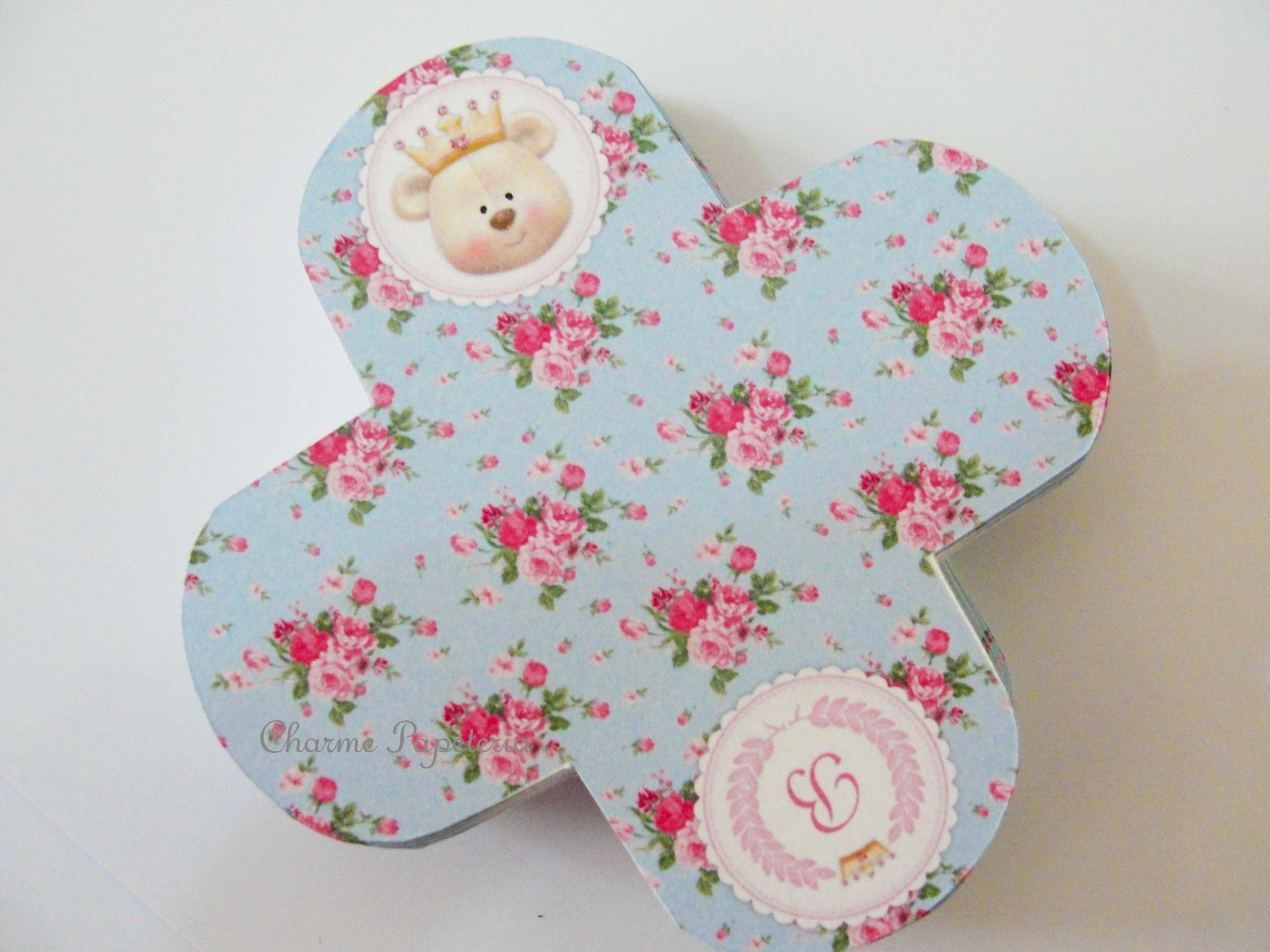 Forminha para docinhos personalizada tema Ursinha Princesa Azul e Rosa Floral