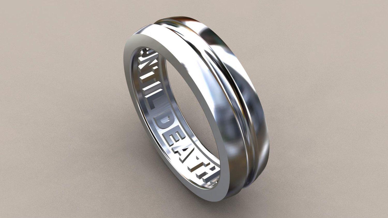 6mm Mens Wedding Band, Sterling Silver, Until Death Hidden Message ...