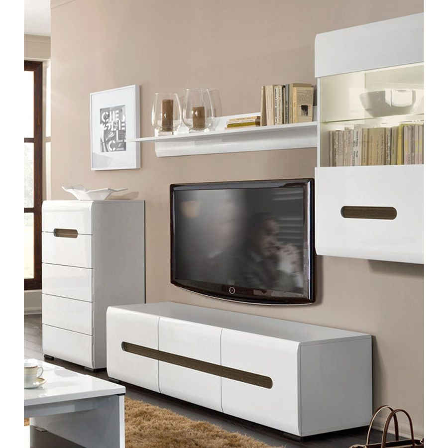 HIGH GLOSS Wall Unit 4 Items | TV Stand U0026 Wall Cabinet U0026 Chest Of Drawers