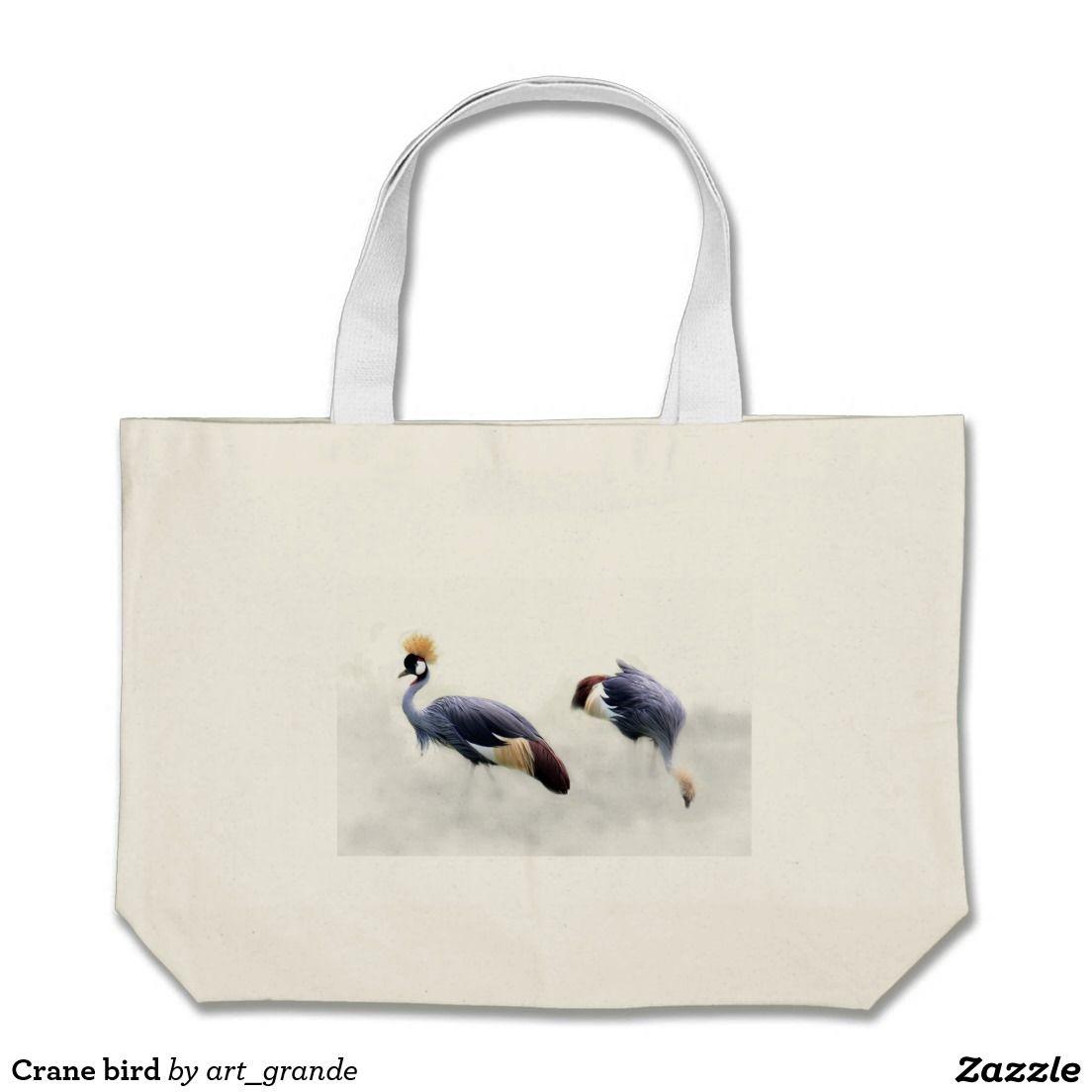 Crane bird large tote bag