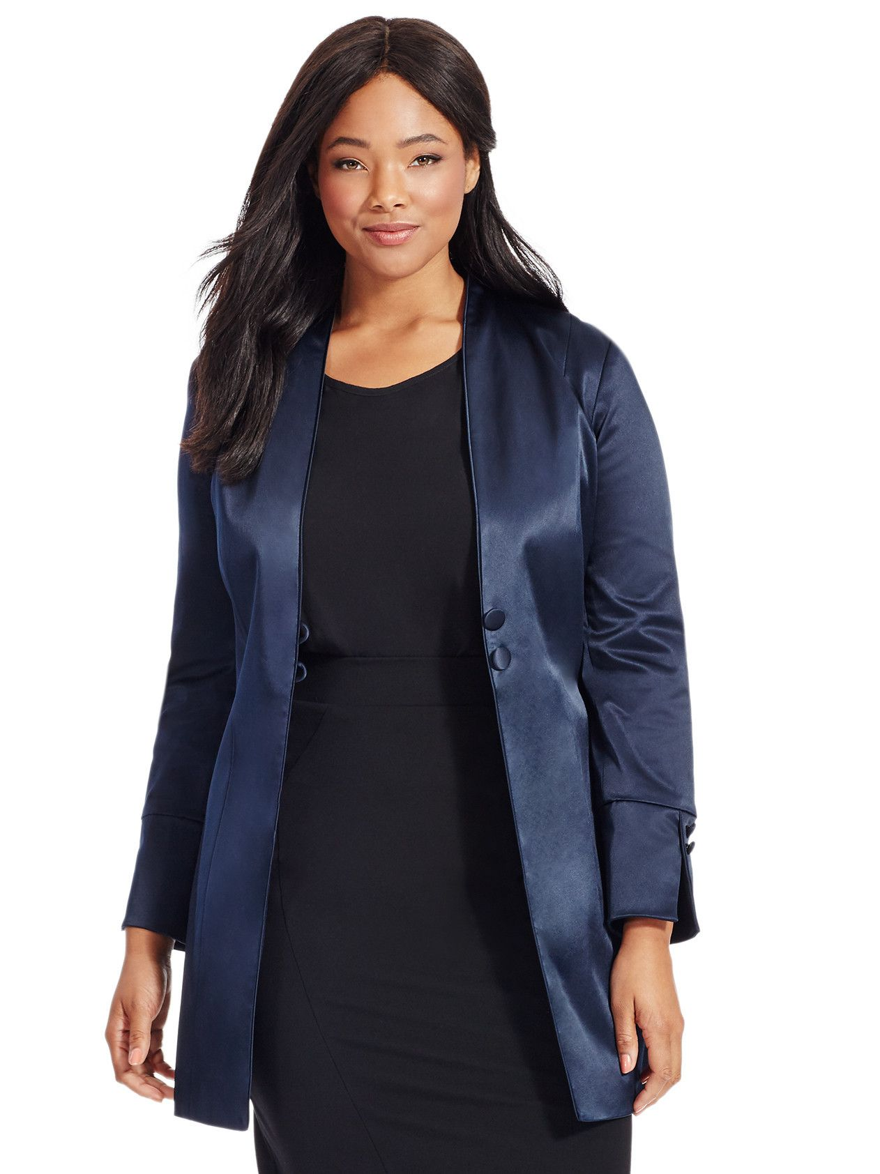 Midnight Blue Satin Long Jacket by Elvi , Available in sizes 14-24