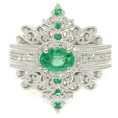 Details about Gorgeous 925 Silver Wedding Rings for Women Oval Cut Emerald Ring Size 6-10
