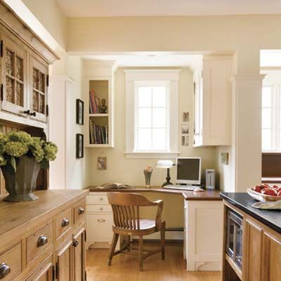 Cozy office nook just off the cooking area.  Photo: Eric Roth   See more of this redo @thisoldhouse.com  