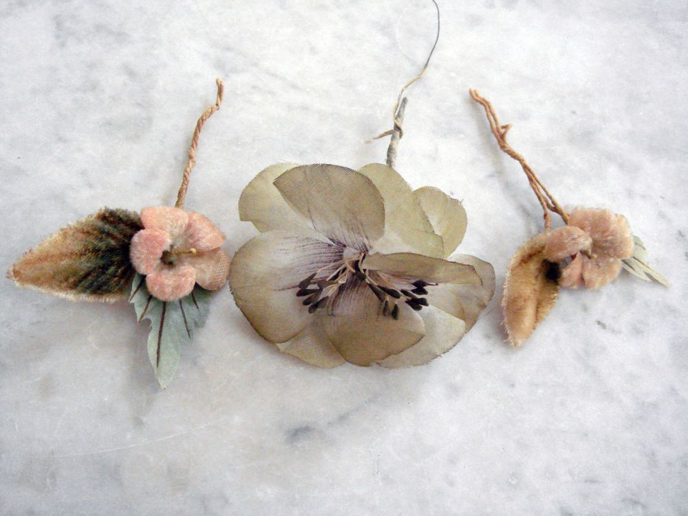 Vintage 1950's millinery flowers 3 pc assorted green rose beige silk and velvet