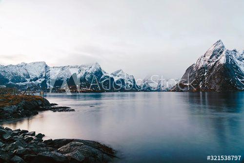 Snowcapped mountains at the coast, Hamnoy, Lofoten, Norway , #SPONSORED, #coast, #mountains, #Snowcapped, #Norway, #Lofoten #Ad