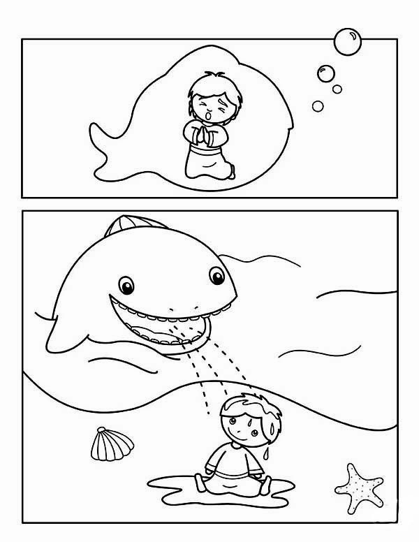 Story Jonah and the Whale for Kids Coloring Page | Sunday school ...