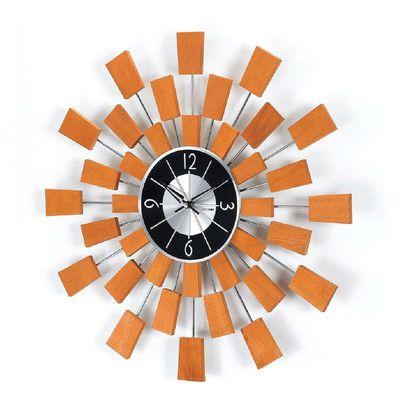 dCOR design Telechron Wooden Block Wall Clock