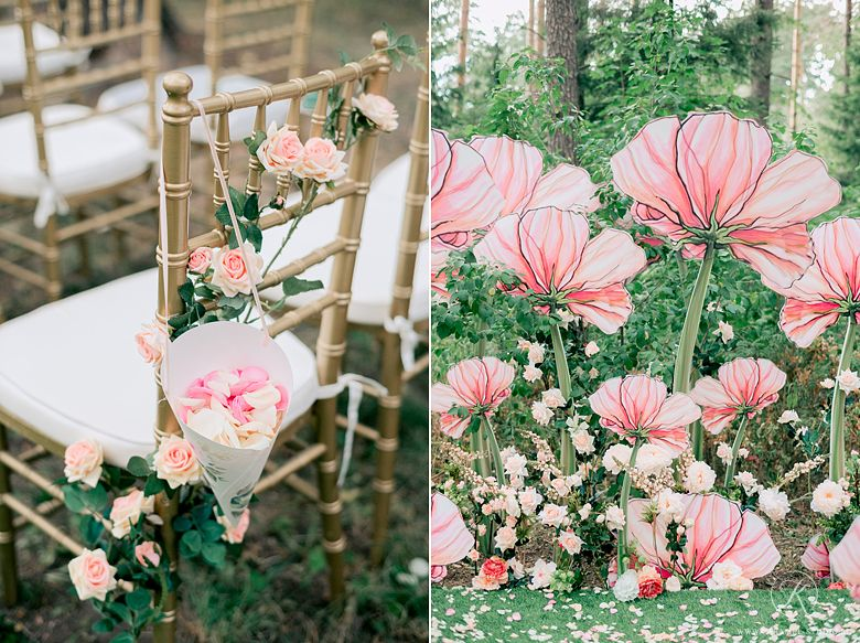 Giant Paper Flower And Pedals Aisle Decor