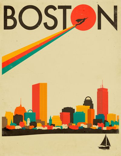 Boston Skyline Framed picture//mounted canvas wall art prin//better than stretched