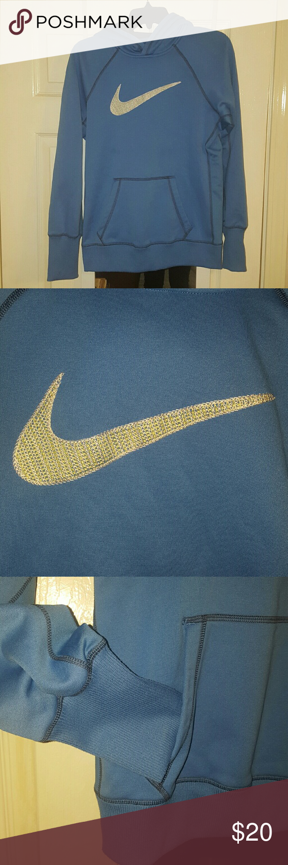 Nike Therma Fit Hooded Sweatshirt 100% Polyester Therma Fit Hoodie. The nike logo is stiched so it will not fade or melt in wash. Women's fit. Perfect condition. Nike Tops Sweatshirts & Hoodies