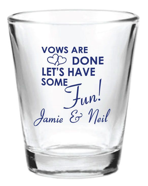 96 Personalized 15oz Wedding Favor Glass Shot Glasses Custom Favors By Factory21 On Etsy