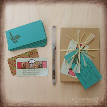 Jewelry packaged with business card and thank you note