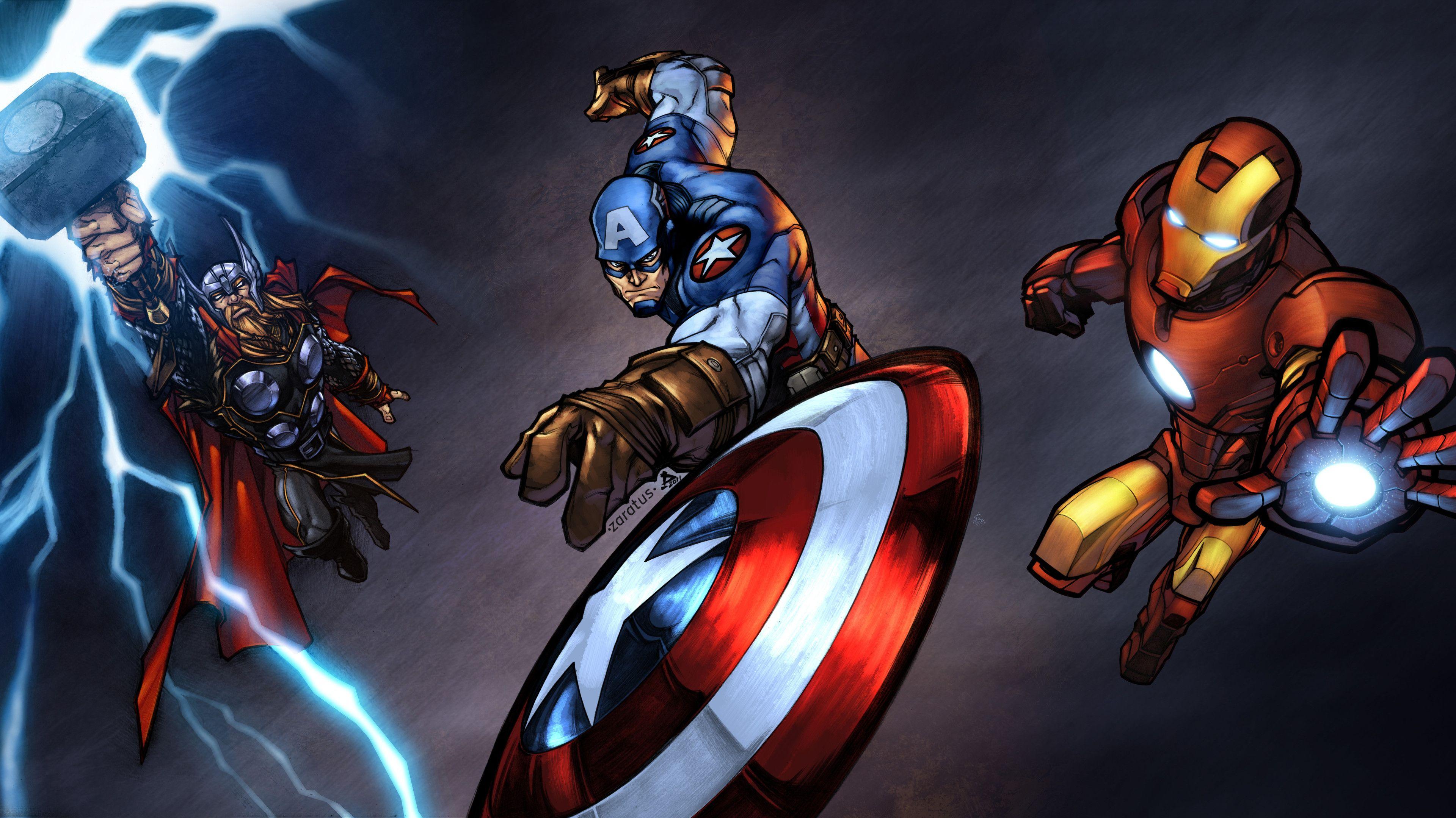 Iron Man Captain America Thor 10k Thor Wallpapers Superheroes Wallpapers Iron Man Wallpapers Hd Wa Avengers Wallpaper Avenger Artwork Marvel Avengers Comics