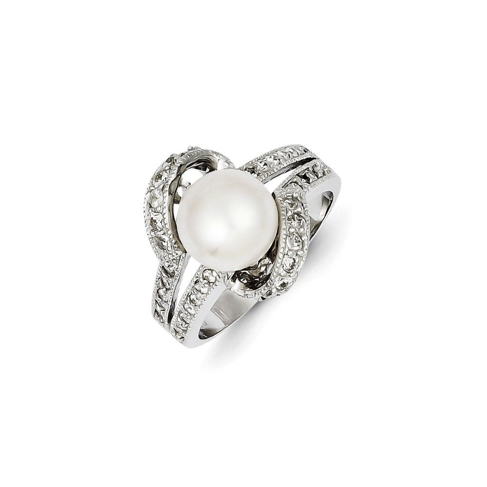 Goldia Sterling Silver Imitation Pearl and CZ Pendant