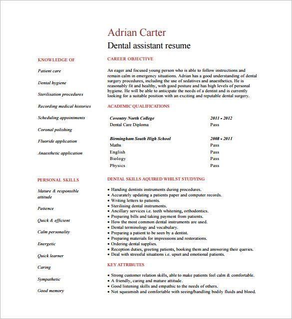 Student Dental Assistant Resume Pdf Free Download Dental Assistant Medical Resume Template Resume