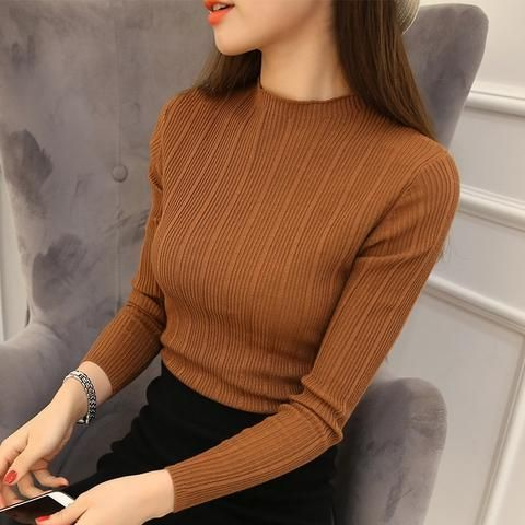 2018 New High Quality Autumn Winter Women Sweater Pullovers Knitwear Solid Half Turtleneck Long Sleeve Sexy Slim Chandail Femme