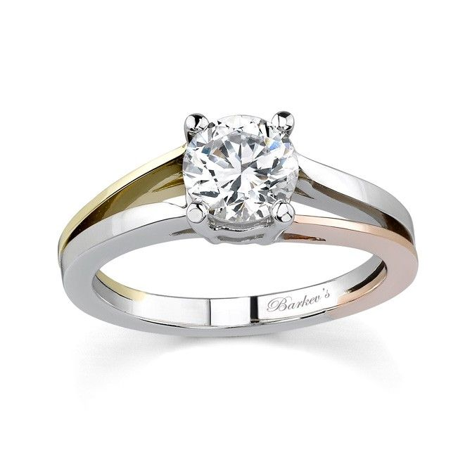 Tri Color Solitaire Engagement Ring
