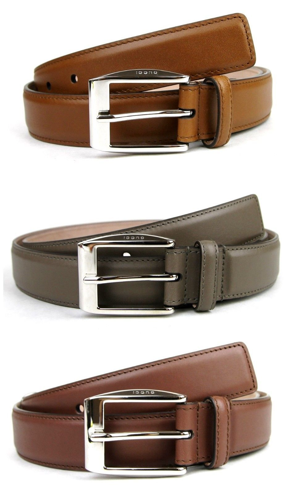 Authentic Gucci Mens Leather Belt With Classic Square Buckle 336831 Bgh0N  Cinturones a2b05f72cf4e