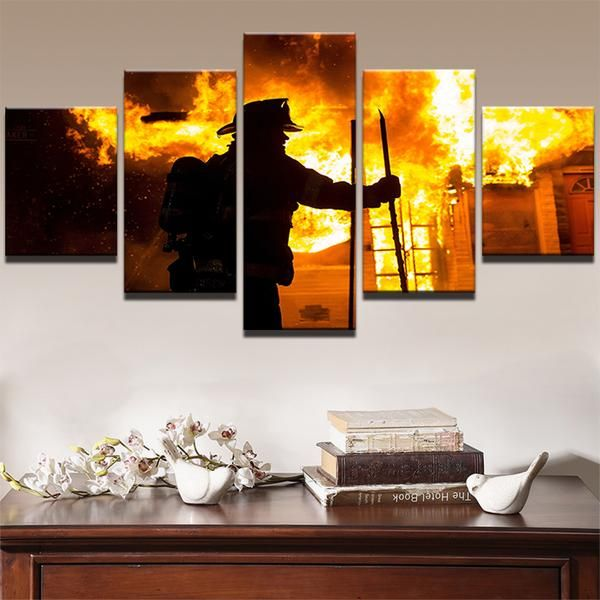 Flame And Fireman Party Decor Firefighter Wall Art Fire Etsy In 2020 Fireman Party Firefighter Gifts Fireman