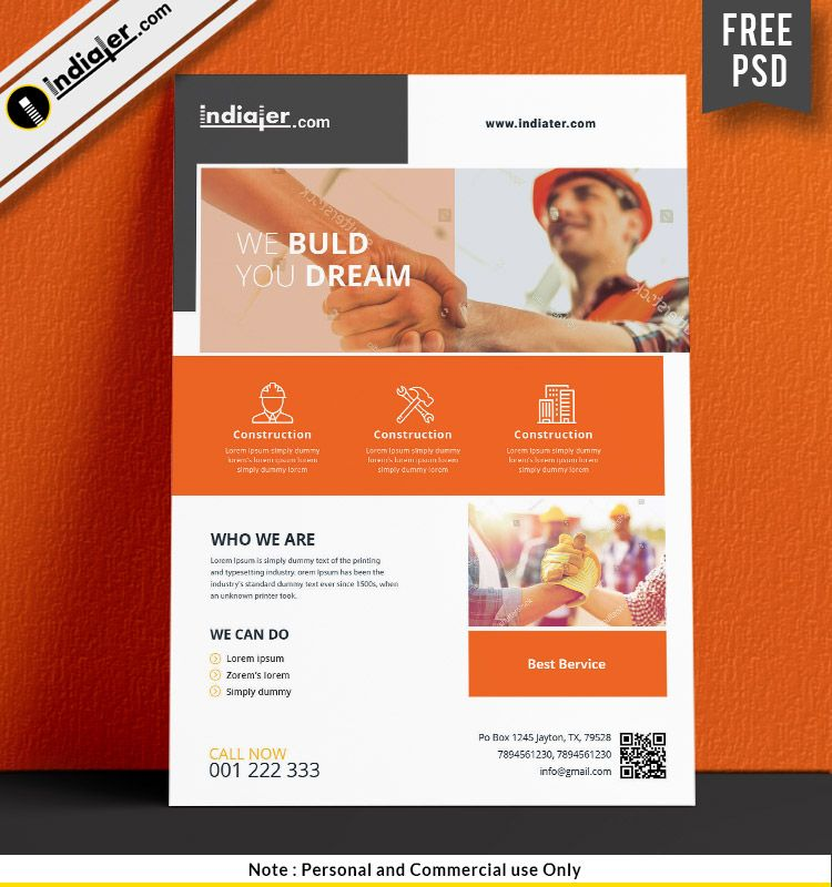 Free Download Construction Flyer Templates PSD | Free ...