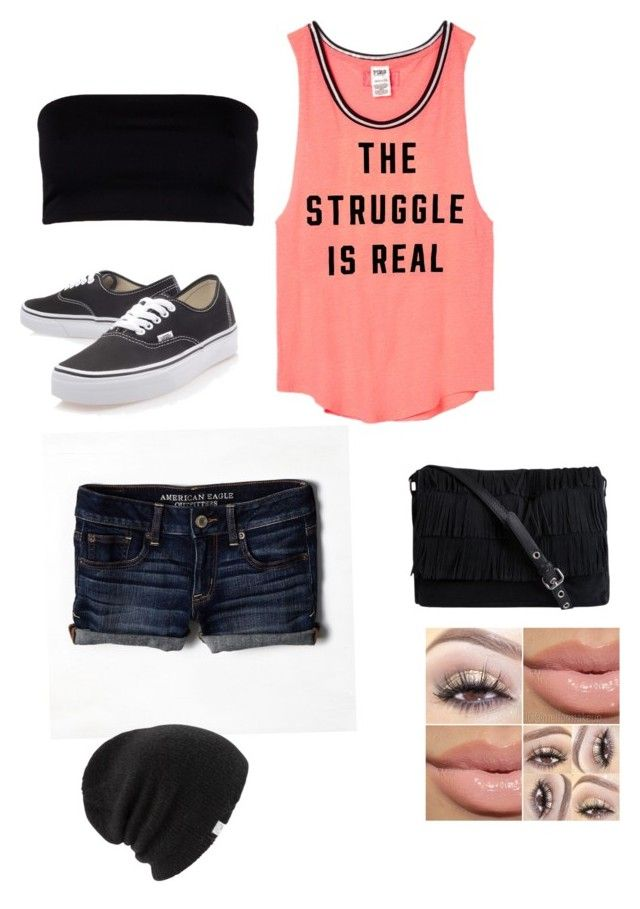 """""""Untitled #39"""" by elleciaann-marie0530 ❤ liked on Polyvore featuring AllSaints, Victoria's Secret PINK, American Eagle Outfitters, Vans, Pieces and Coal"""