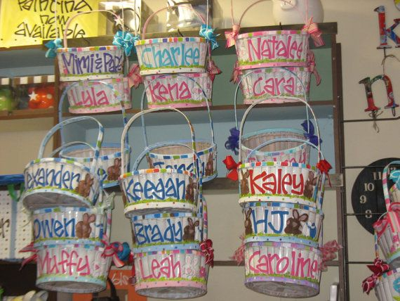 Handpainted personalized easter baskets by metoyouart on etsy handpainted personalized easter baskets by metoyouart on etsy 4000 negle Images