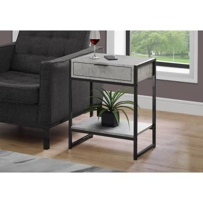 Monarch Specialties Grey End Table With A Drawer Soft Grey End