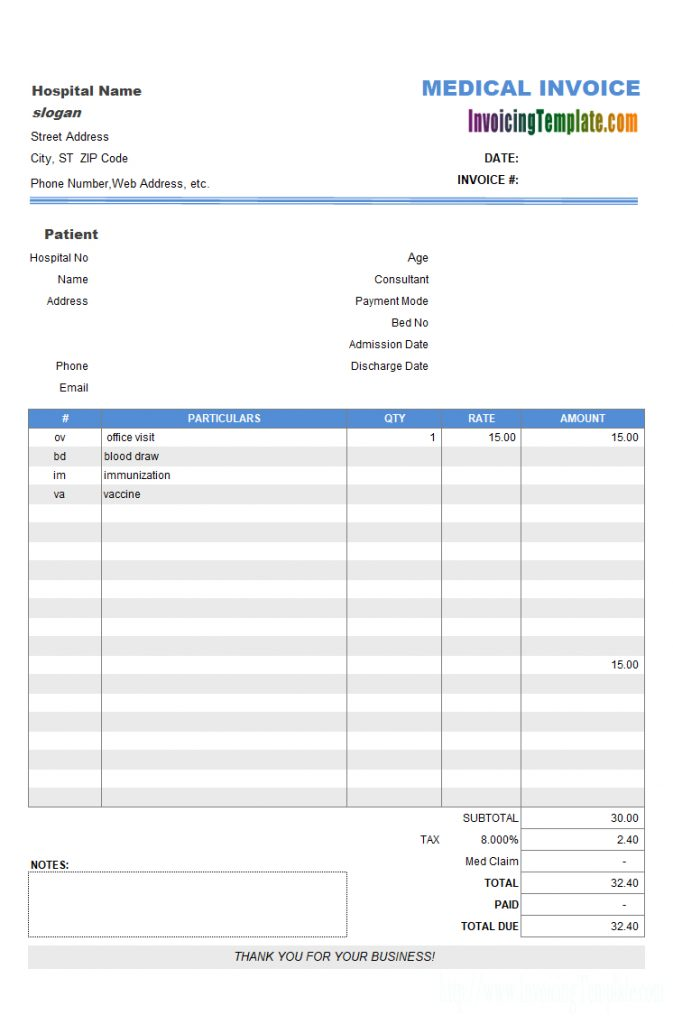 Medical Billing Format In Doctors Invoice Template 10 Professional Templates Ideas 10 Professional Temp Invoice Template Medical Billing Receipt Template