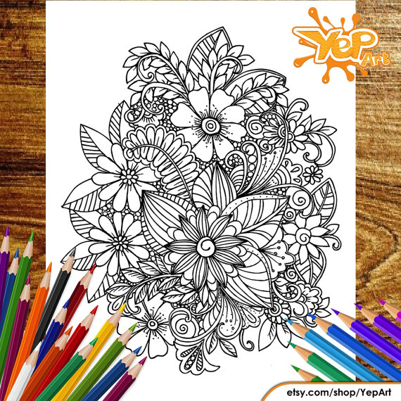 Wonderful FLOWER Adult Coloring Page, Coloring Book ...