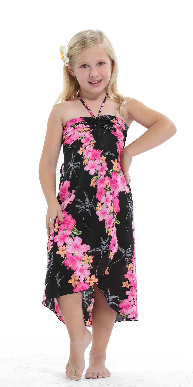 Girl Hawaiian Luau Butterfly Dress in Pink Panel Black | festa da ...