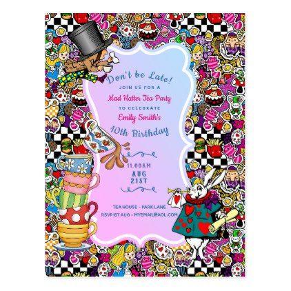 Alice Wonderland Tea Party Invitations