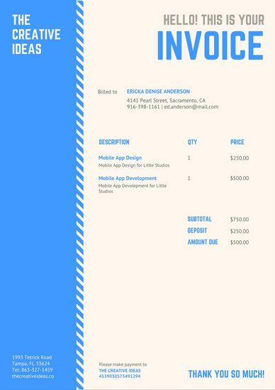 Blue and Cream with Striped Sidebar Invoice Letterhead Stationary - invoice letterhead