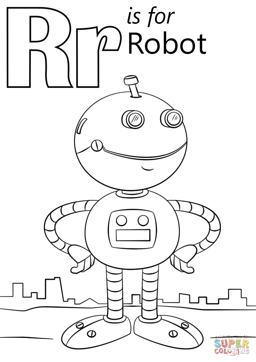 Letter R is for Robot coloring page from Letter R category. Select ...