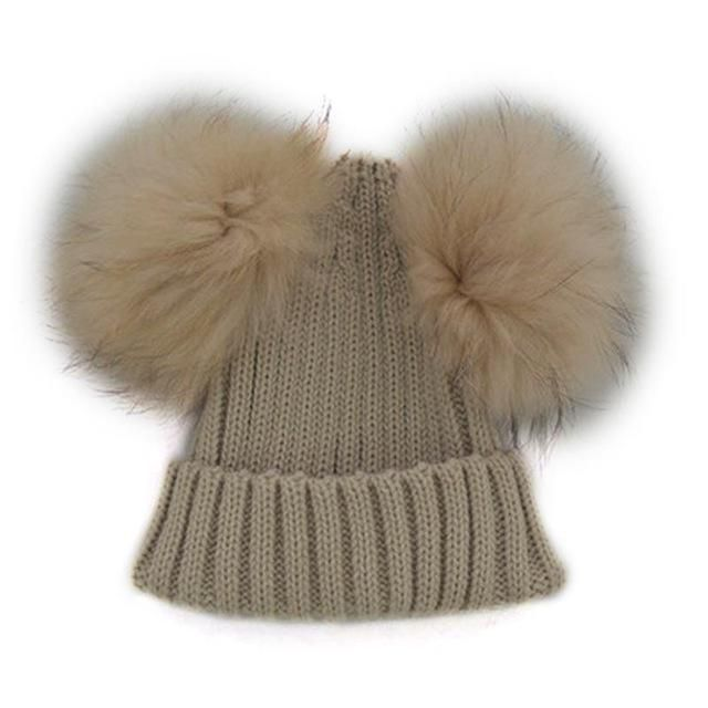 8bfe435842031 Cute Baby Winter Hats Double Fur Pom Pom Girl Boy Children s Keep Warm Hats  Raccoon Balls Beanie Cap 13 cm Hight Quality 2017