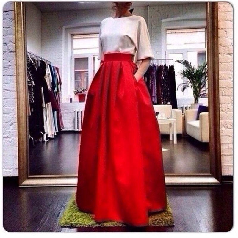 71f830c5dbf8b 7xl Red Long Pleated Silk Satin Wedding Tutu Skirt 2016 Women Autumn ...