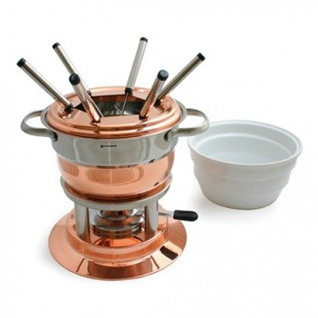 Copper Fondue Set - Carefree entertaining for family and friends is a sure way with classic fondue fare. This eleven piece, three in one copper plated stainless steel fondue set will be the most versatile cooking tool in your home. Easily prepare delectable cheese, savory meat, and scrumptious chocolate fondue at one sitting. Also great for serving one pot meals such as chunky chili, nacho or veggie dips, Swedish meatballs, or hearty soups.