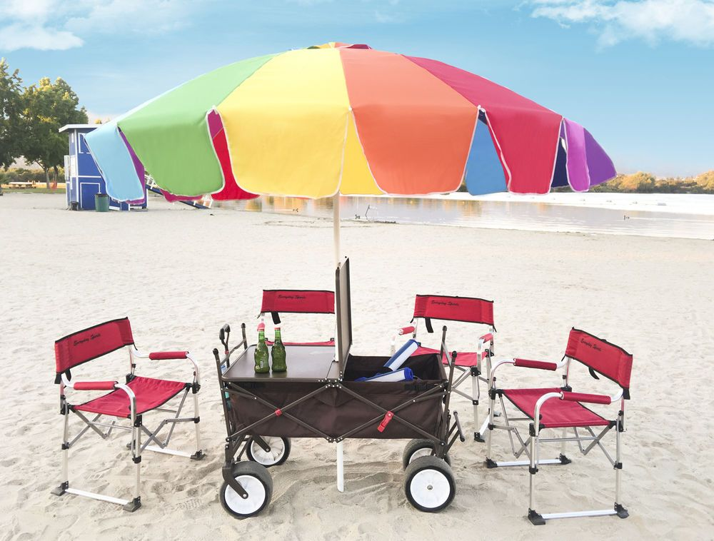 Collapsible Camping Cart Folding Wagon All Terrain Outdoor Table Beach Umbrella Everydaysports