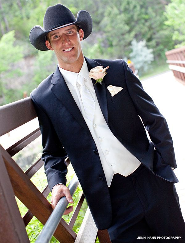 a2036983e79 Formal tux paired with cowboy hat - perfect Western wedding. This is what I  want. Vest a different color though.