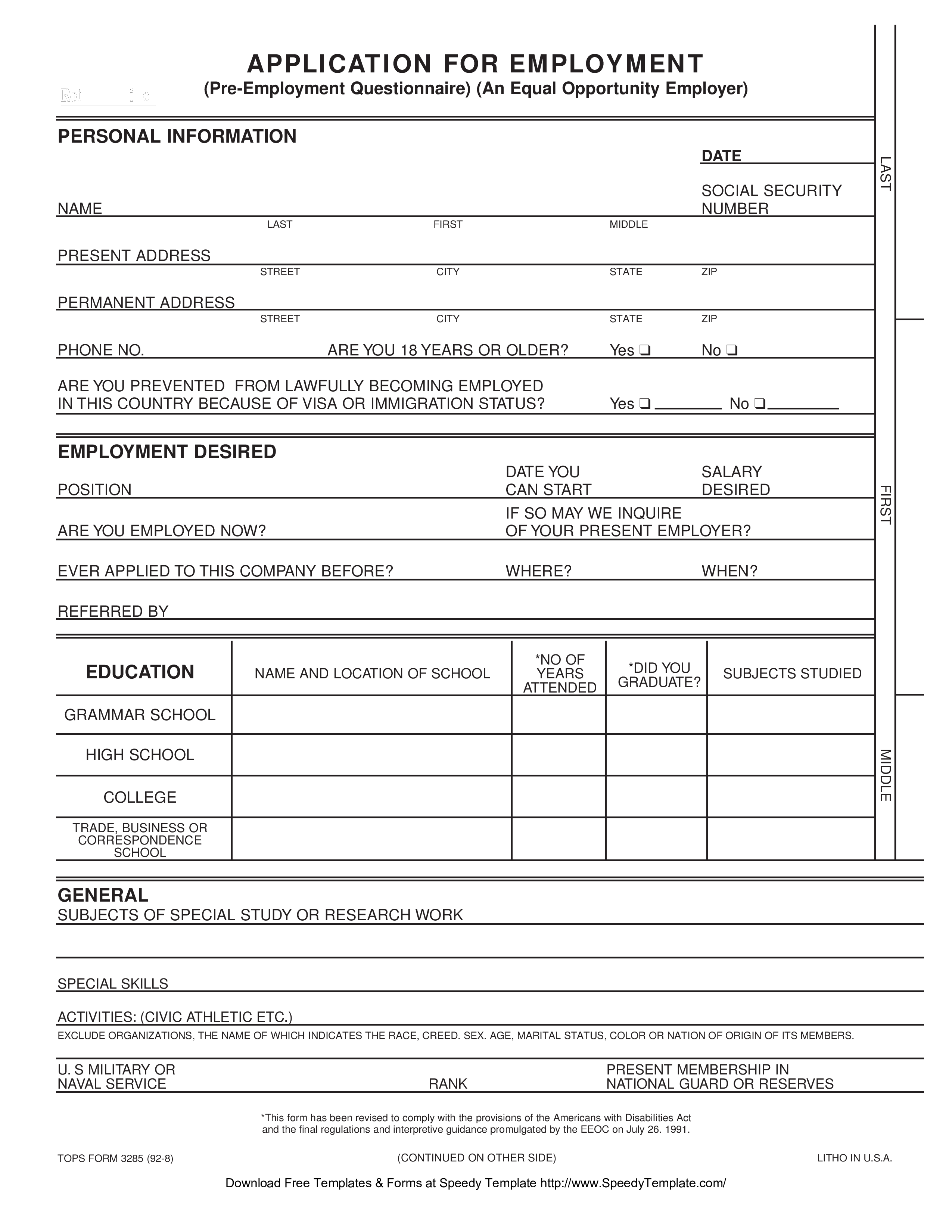 Unique Employee Application form xlstemplate xlssample