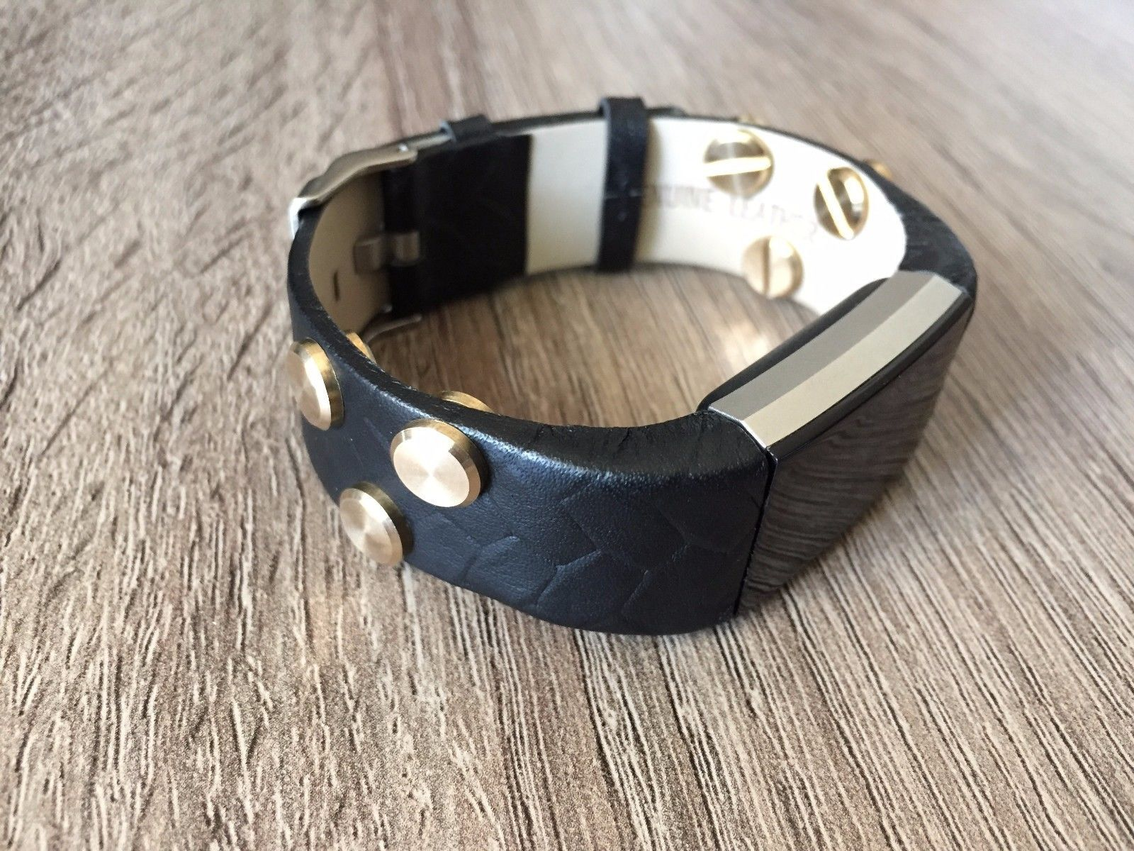 Handmade vintage black leather band with gold rivets for fitbit