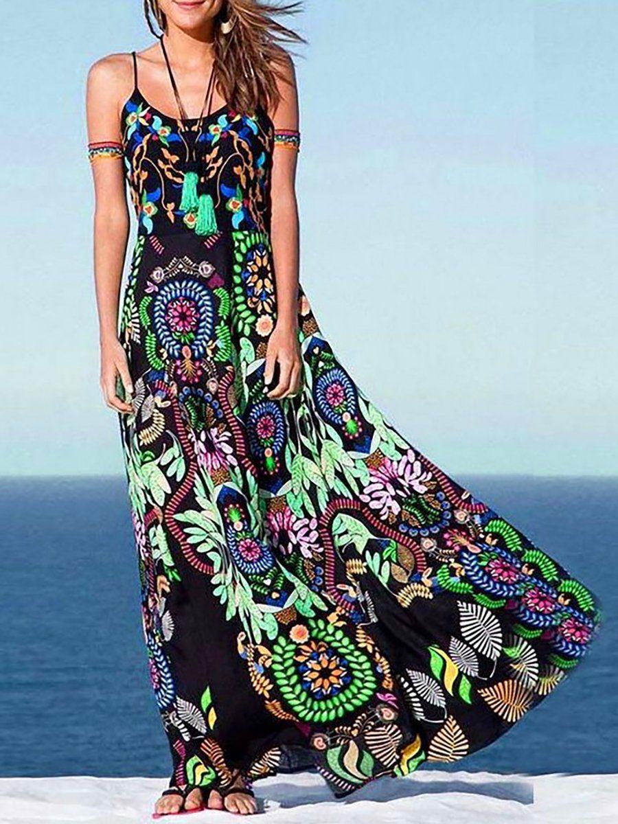 Crew Neck Black Women Summer Boho Print Dress Justfashionnow Com Maxi Dress Peacock Print Maxi Dress Boho Maxi Dress [ 1200 x 900 Pixel ]