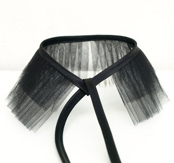 black tulle choker collar