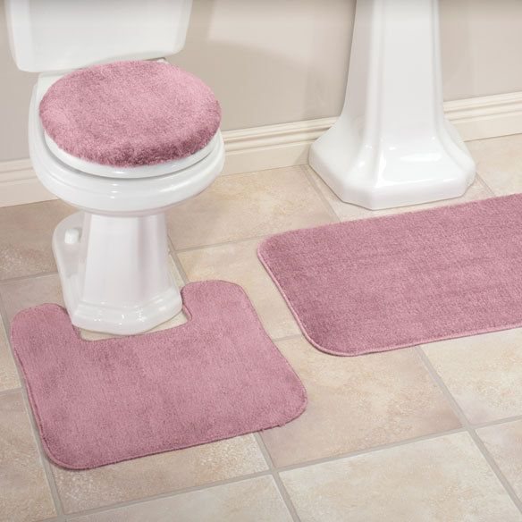 3 Pc Pink Dusty Rose Bath Rug Set Bathroom Mat Contour Rug Toilet Lid Cover